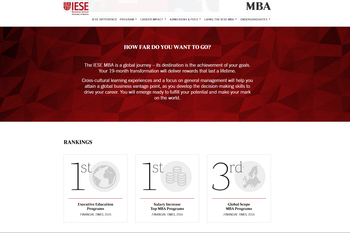 IESE Business School MBA website